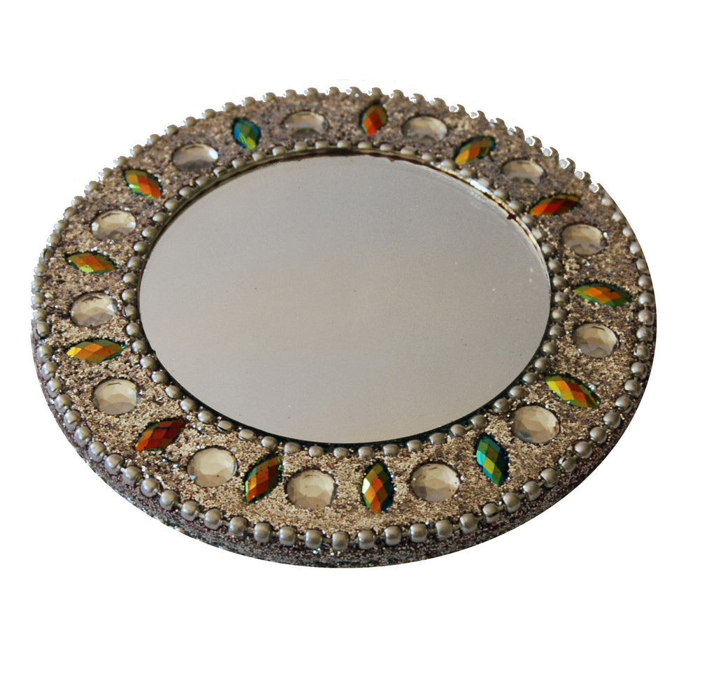Round mirror with silver bling beads