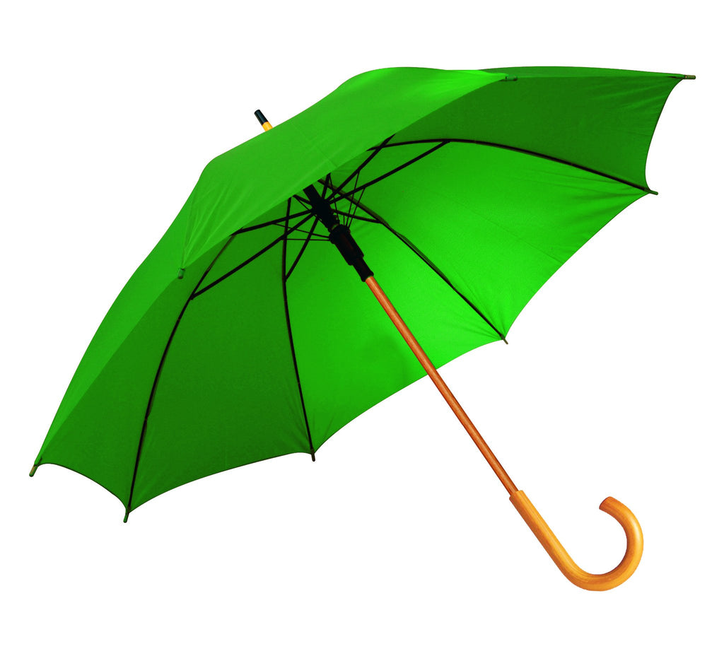 Green auto-open umbrella with wooden shaft and J-handle