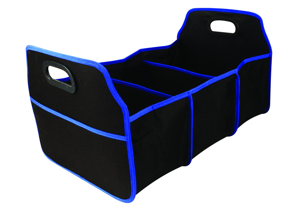 Black with blue trim 3 compartment collapsible car boot organizer