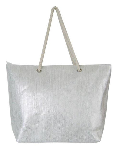 Silver bling shopping/beach bag with natural cotton rope shoulder strap