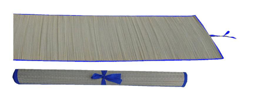 Straw multi-purpose mat with blue trim