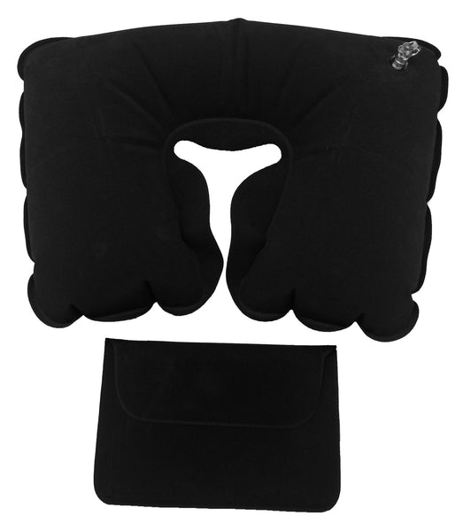 Black inflatable neck pillow with pouch, Travel - Presence