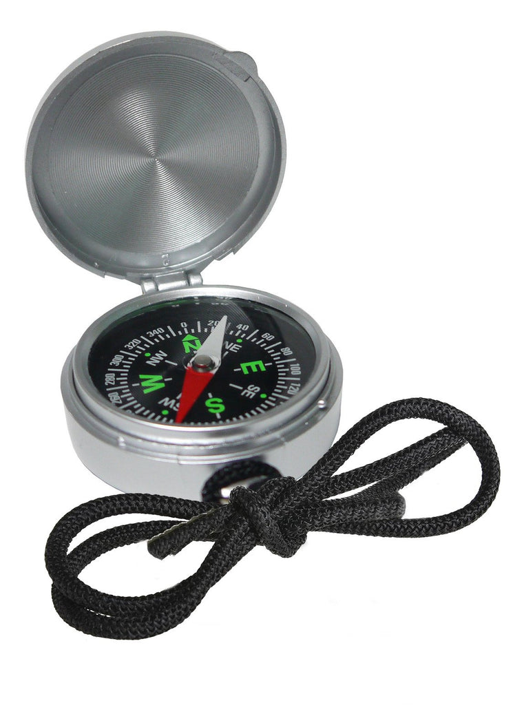Silver compass with black lanyard