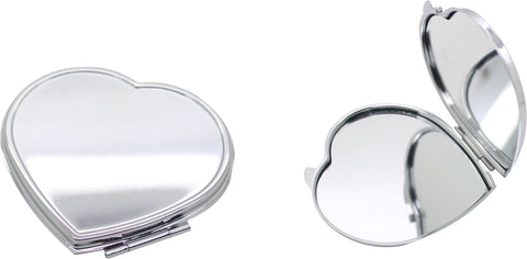 Silver heart shaped double sided compact mirror (6cm)