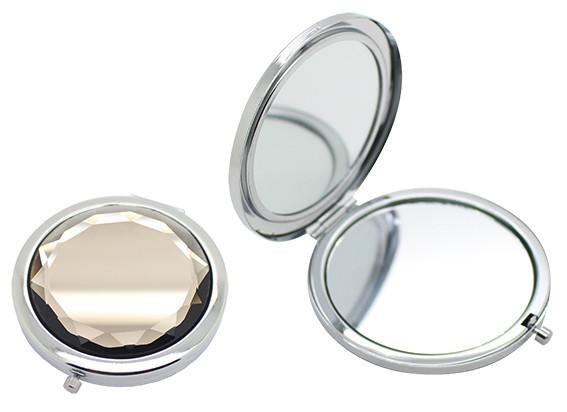Light grey crystal and silver double sided compact mirror (7cm)
