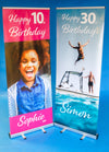 Birthday / Celebration Photo Pop Up Banner with Stand & Base. Personalise with your Photos & Text - 2 Metres Tall