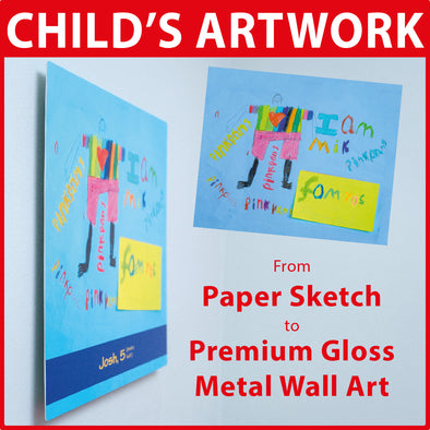 Child's Artwork Printed onto Premium Metal Hi Gloss Print Panel + Optional Unique Memorabilia Line