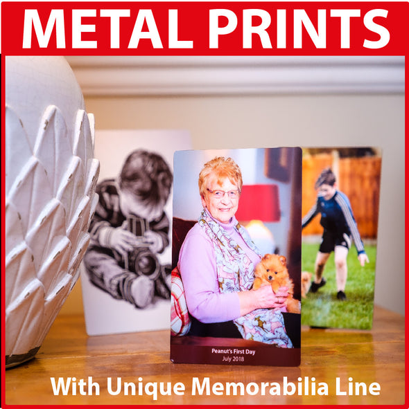Your Photo on Metal Print Panel + Unique Memorabilia Line