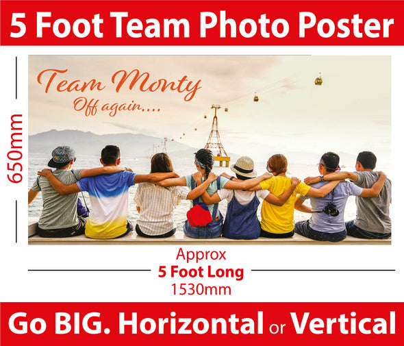 5 Foot Photo Team / Sports Poster Banner - Totally Unique Decoration Poster.