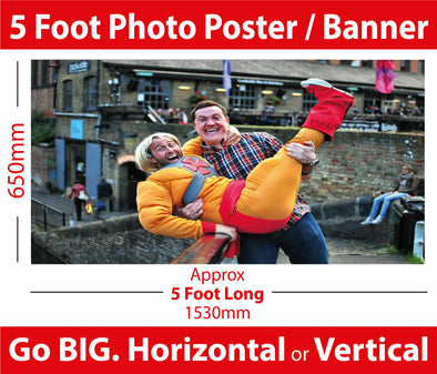 5 Foot Photo Poster Banner - Totally Unique Party Decoration Poster. Your Image Supersized!!