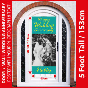 Wedding Anniversary 5 Foot Tall Photo Poster with Your Photo & Text - Printed 5ft / 153cm tall