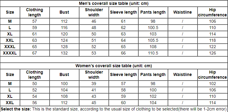 Smart&Safe EMF protective Coverall size chart