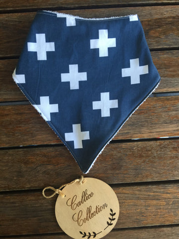 Navy/White Crosses Print Bandana Bib