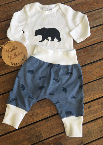 Bears/Mountains Print Harem Pants and Onesie set.