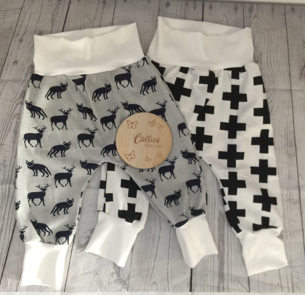 Grey/Navy Deer and Fox Print OR Monochrome crosses Harem Pants