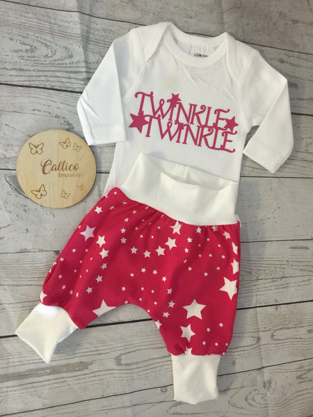 Twinkle Twinkle Harem Pants & Onesie set Pink or Blue!