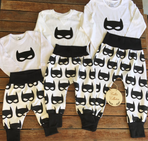 Batmask Print Harem Pants and Onesie/Tee Set