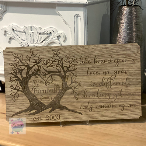 Like Branches on a tree - Surname Family Tree engraved sign