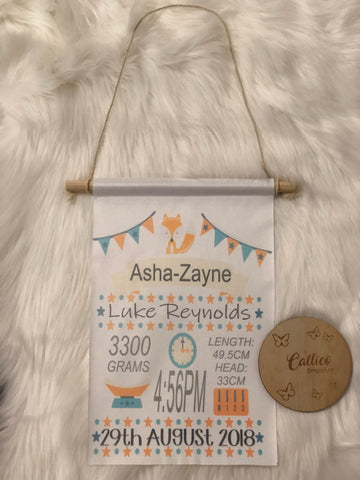 Birth Details Hanging Flag/Banner