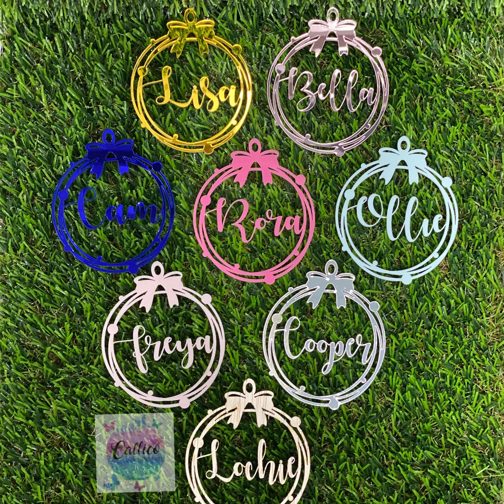Personalised Bow Ornaments - Acrylic or Plywood