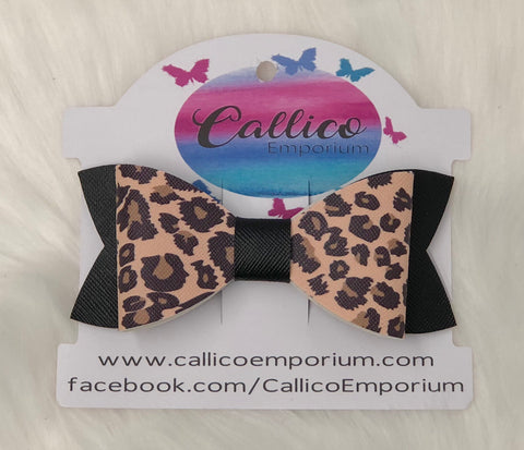 Leopard Print & Black Faux Leather Hair Bow with bow clip