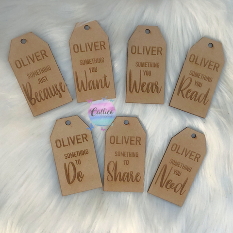 7 things for Christmas wooden engraved tag set