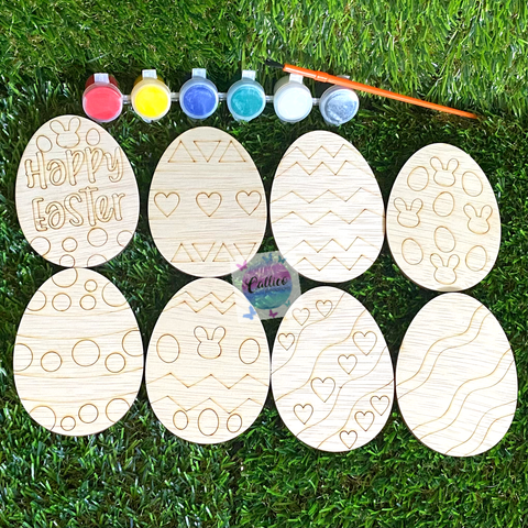 Easter Craft Pack - Wooden Egg Painting Kit
