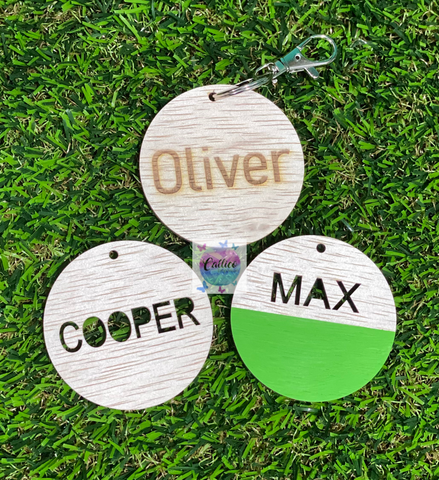 Wooden Name Bag Tags - Various Designs