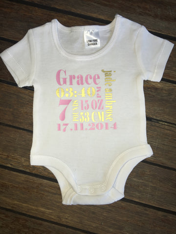 Birth Details Onesie