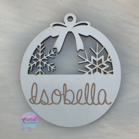 Personalised white wooden ornament - any 1 name