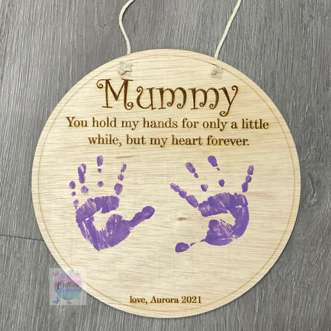 Custom DIY hand / foot print wooden sign