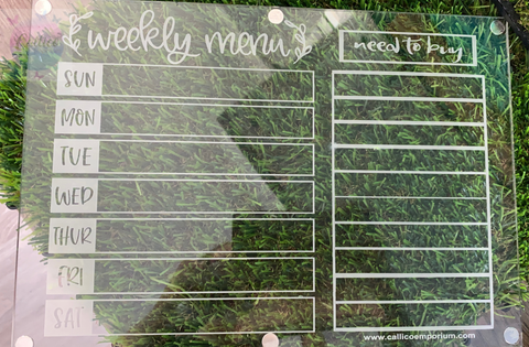 Weekly Menu / Need to Buy Acrylic fridge planner