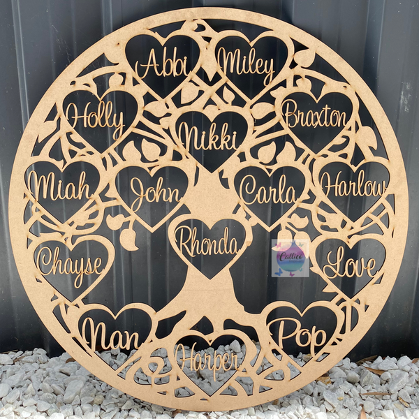 Round Tree of Life with 15 Hearts - 60cm