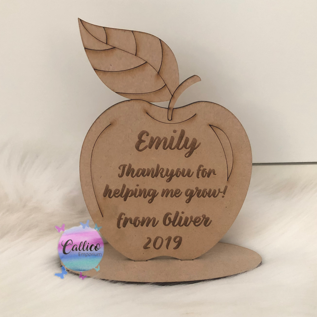 Teachers Apple stand - engraved plaque