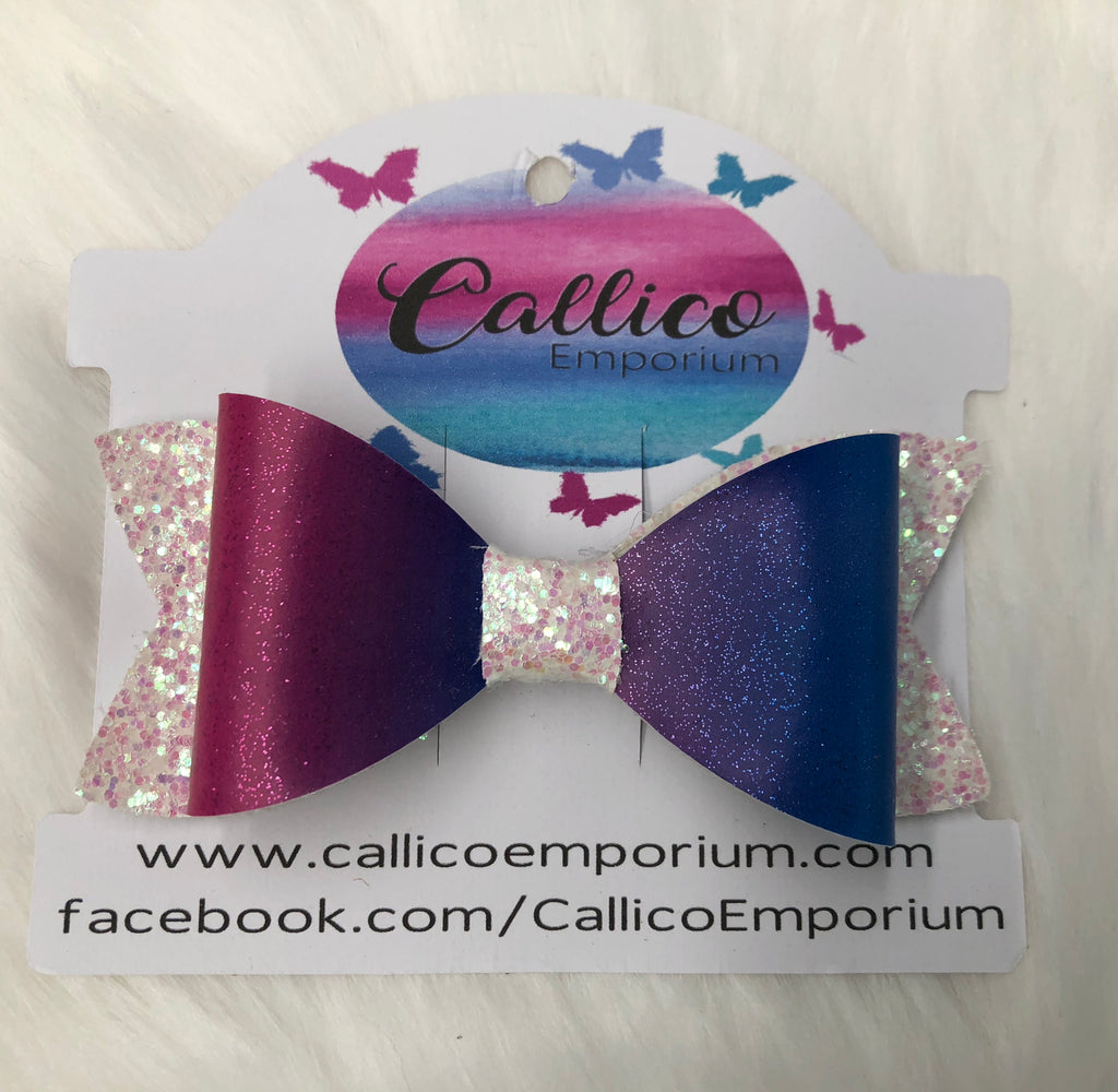 Pink/Purple/Blue Ombré with Marshmallow White/Pink Glitter Hair Bow with bow clip