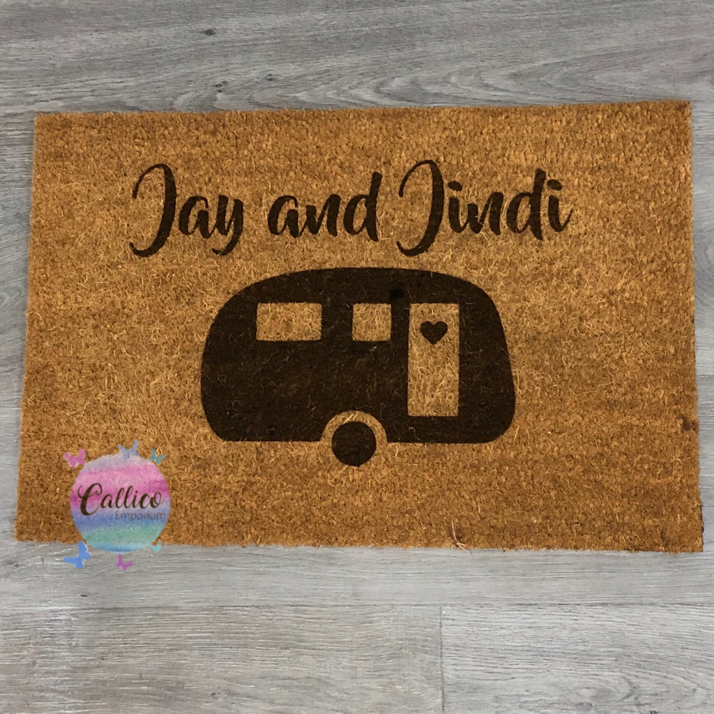 Personalised Names Caravan - Engraved Door Mat