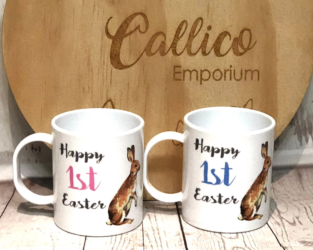 Happy 1st Easter KIDS POLYMER MUG PERSONALISED ON REVERSE SIDE