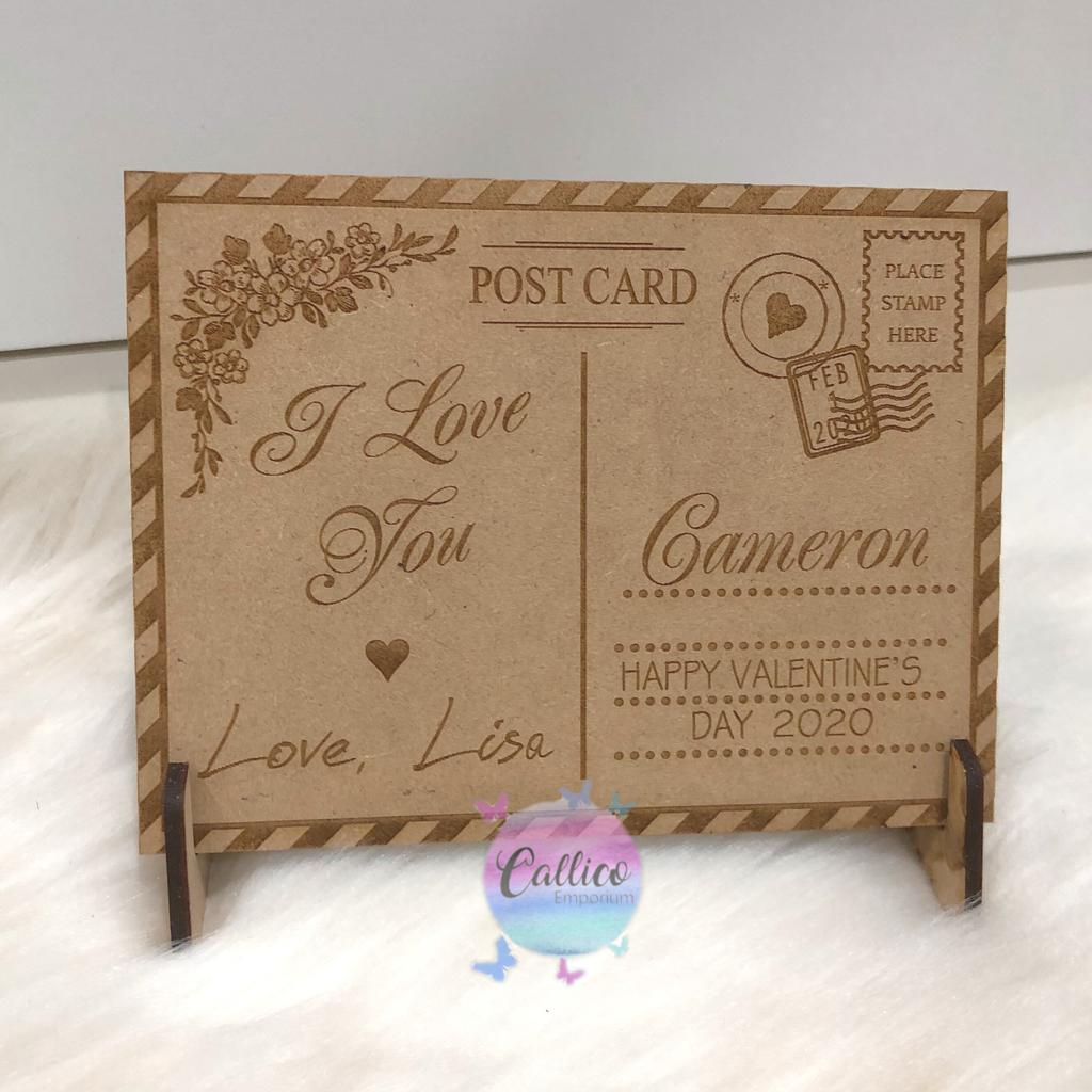 Valentine's Day Personalised Wooden Postcard