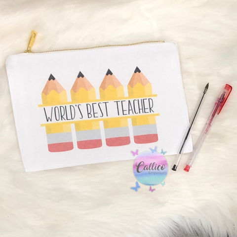 WORLD'S BEST TEACHER PENCIL CASE WITH GOLD ZIP