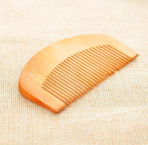 Natural Peach Wood Wooden Beard Comb