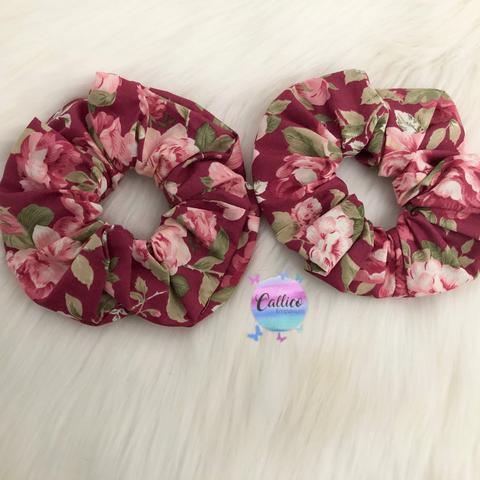 Dusty Maroon Floral Large Scrunchie