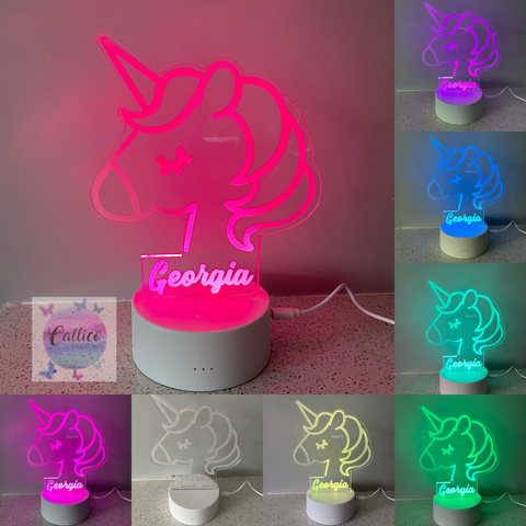 Unicorn Shape Custom Name Acrylic Light