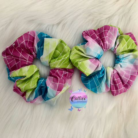Blue, Pink and Green pattern Large Scrunchie
