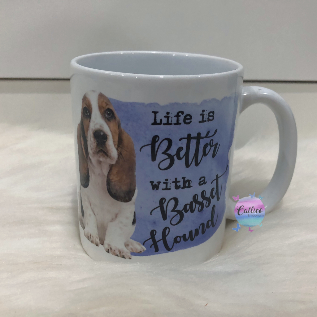 """Life is better with a Basset Hound"" Mug"