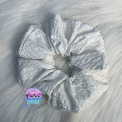 Textured White Large Scrunchie