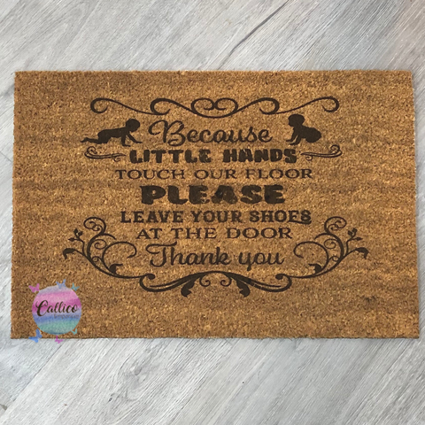 Little hands touch our floor - Engraved Door Mat