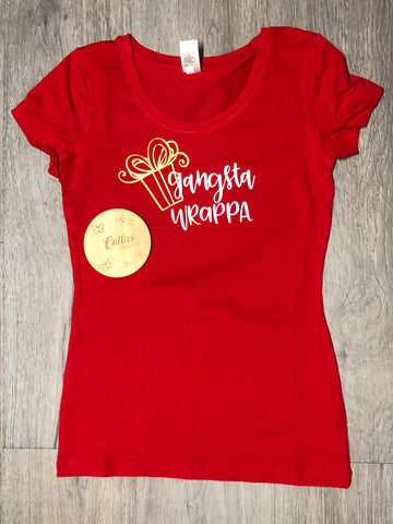 Gangsta Wrappa Cheeky Womens Christmas Tee