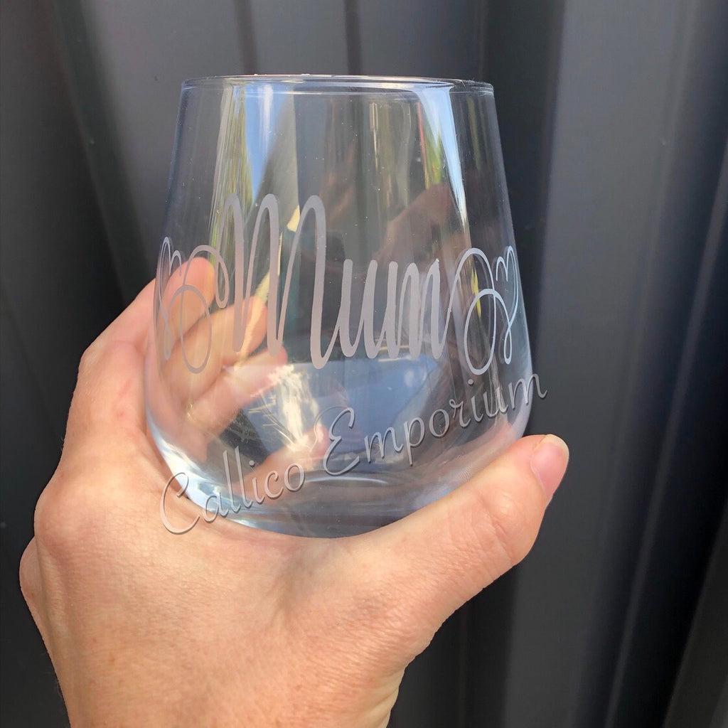Glass Etched Personalised Stemless Wine Glass