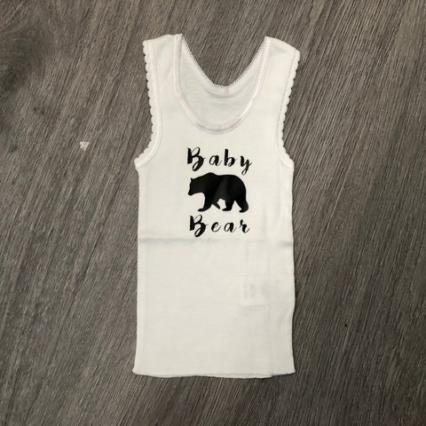 Baby Bear newborn singlet - White with Black Text