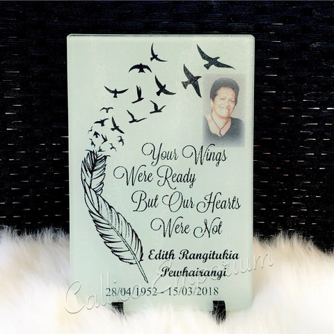 """Your wings were ready"" Photo Memorial Glass Plaque"